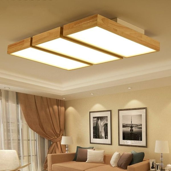 Modern LED Ceiling Lights Wooden Square Ceiling Lamp With Dimming Remote For Living Room Dining Light Wood Bedroom Lamps