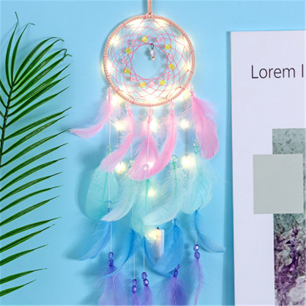 top popular LED Feather Dreamcatcher Girl Catcher Network LED Light Dream Catcher Bed Room Hanging Ornament Cartoon Accessories INS pendant free TNT 2021