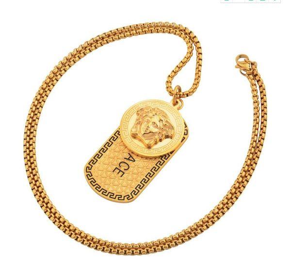 Mens de aço inoxidável de luxo 18 k ouro punk medusa hip hop tag colar cabeça retrato pingente neckalce moda acessórios de jóias
