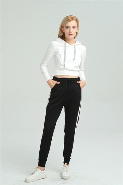 Pantaloni Casual Donne laterale modale a righe pantaloni della tuta della molla caviglia sciolto Harem pantaloni nero con bianco Femminile Casual Wear P8095