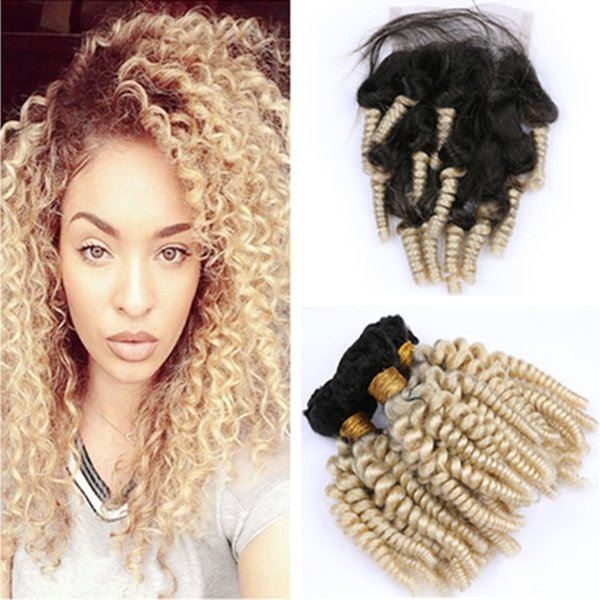 #1B/613 Dark Root Ombre Aunty Funmi Brazilian Human Hair 3Bundles with Closure Bouncy Curly Blonde Ombre Hair Weaves with 4x4 Lace Closure