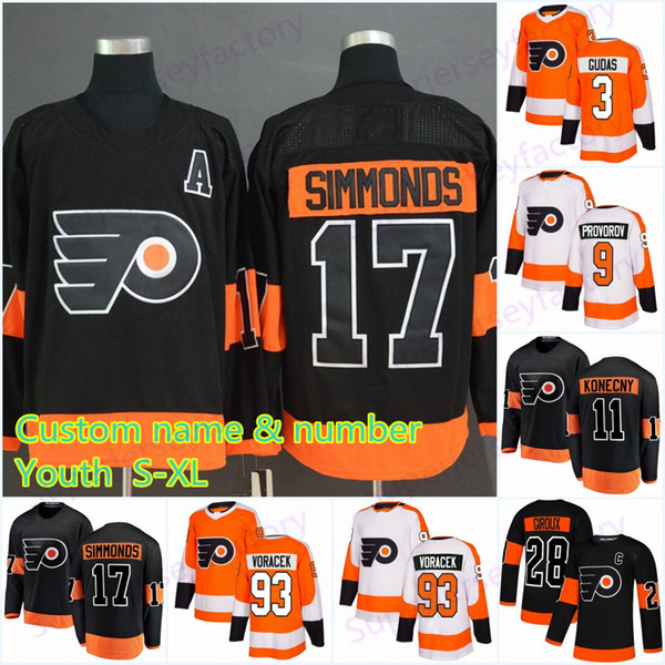 youth 17 wayne simmonds philadelphia flyers jerseys 93 jakub voracek 79 carter hart 87 sidney crosby 28 claude giroux hockey jersey, Black;red