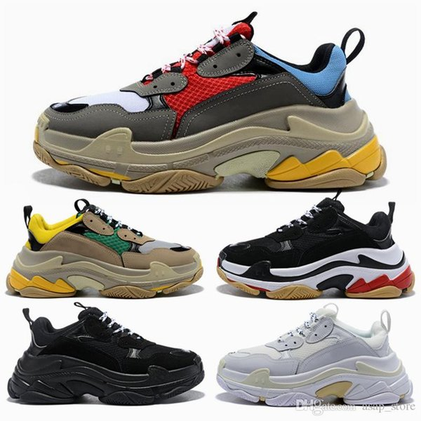 2019 Fashion Paris 17FW Triple S Casual Dad Shoes for Men Women Beige Black White Sports Tennis Running Shoe