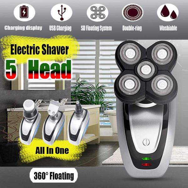 5 In 1 Männer Elektrorasierer Elektrorasierer Wiederaufladbare Körper Rasiermaschine Wasserdichte bart rasierer reinigung 4D Trimmer