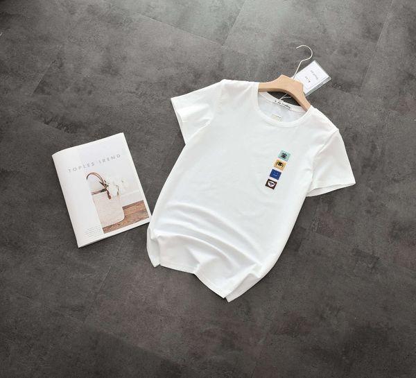 Simples Coringa T-Shirt De Manga Curta Das Mulheres Nova Peito Pequeno Animal Bordado T-Shirt Da Pele Do Tecido Macio Manga Curta