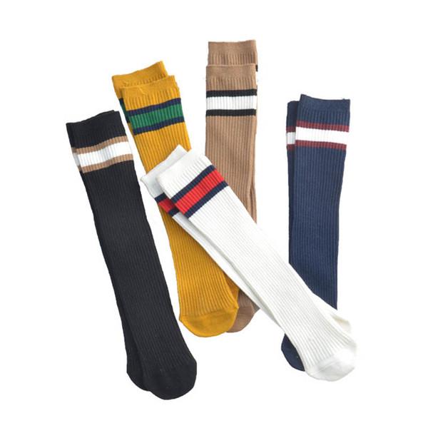 Listra coreana crianças casuais meias de algodão estudante atlético de malha joelho meias altas esportes meninas meias meninos meias crianças roupas de grife A6905
