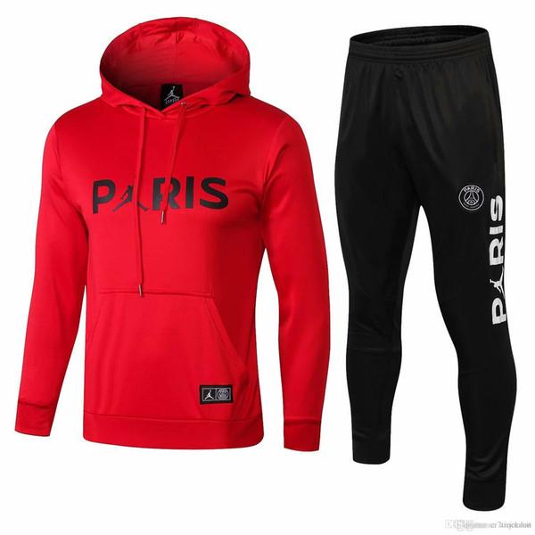 3 trajes Envío gratis DHL 18 19 psg Paris chándales rojos 2018 2019 CAVANI camisetas de fútbol Trajes de entrenamiento MBAPPE Hoodie Plus pantalones deportivos