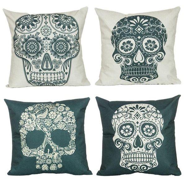 45*45 cm Skull Cotton Linen Square Pillow Case Chair Sofa Car Pillowslip Cushion Cover Pillow Cover Home Decor Pillowcase