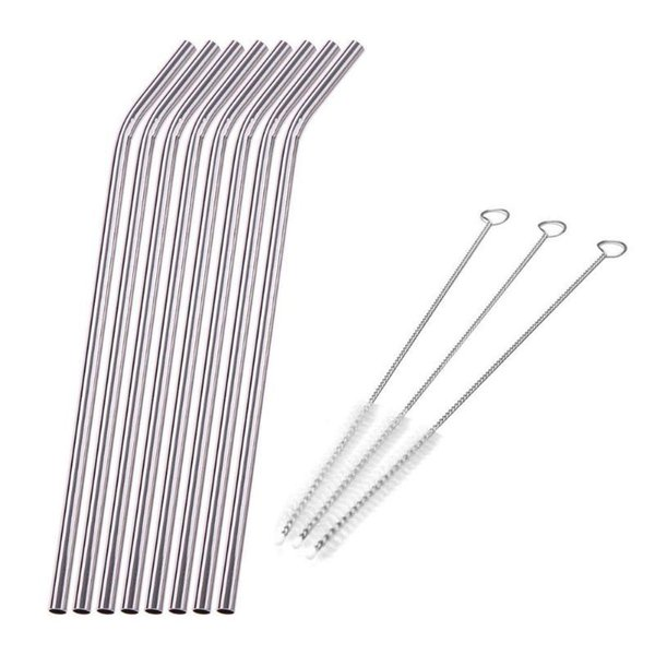 8Pcs Stainless Steel Metal Reusable Drinking Straw For Mugs Straws with 3 Cleaner Brush Kit C18112301