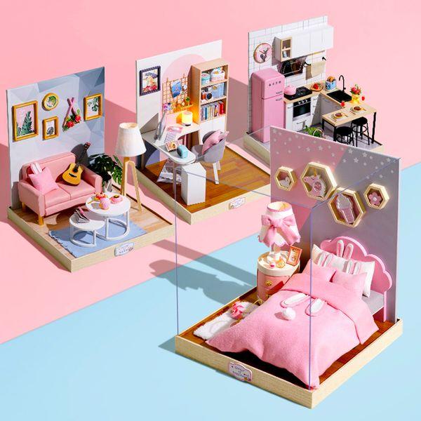Mobili per casa di bambola Miniatura in legno Kit fai-da-te con coperchio antipolvere Carillon Montare artigianato giocattolo Miglior regalo di compleanno per bambini Ragazza