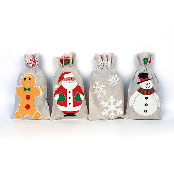 4styles De Noël Cordon Cadeaux Sac Pochette Pour Le Père Noël Flocon De Neige Bonhomme De Neige De Noël De Stockage Toile De Jute Sac de fête d'anniversaire bonbons sac décor FFA2772