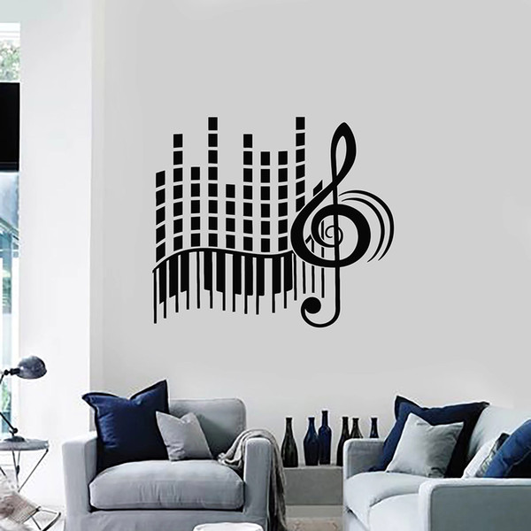 Love Music Vinyl Wall Decal Living Room Stereo Treble Clef Abstract Piano  Large Wall Stickers Decoration Bedroom Art Mural Shop Wall Decals Space  Wall ...