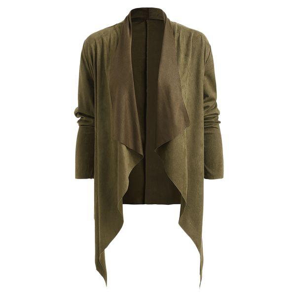 Women Waterfall Collar Coat Faux Suede Soft Jacket Pocket Open Front Wrap Work Wear Trench Long Sleeve Office Women Coat