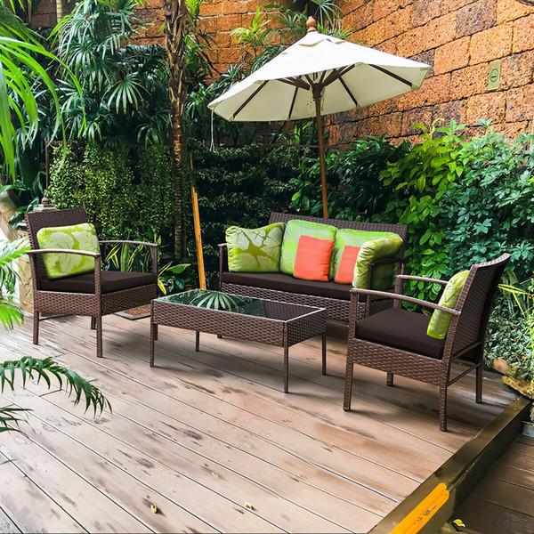 4 PCS Patio Rattan Set di mobili in vimini Divano per giardino Divano imbottito Loverseat Garden Yard New