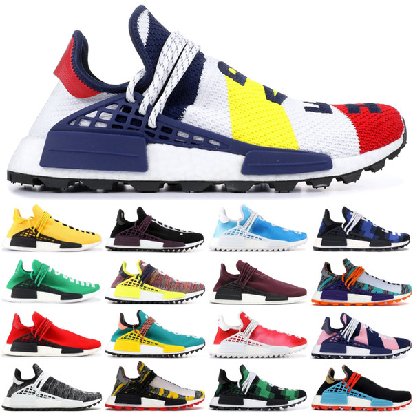 Nuevo Mejor calidad NMD HUMAN RACE Running Shoes Pharrell William BBC green plaid infinite species Hombres mujeres outdoor trainer sports sneaker