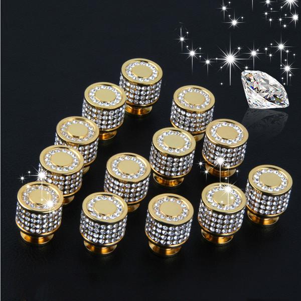Brass 24K Gold Czech Crystal Cabinet Knobs and Handles Drawer Furnitures Cupboard Wardrobe Vintage Knobs Door Pull Handles