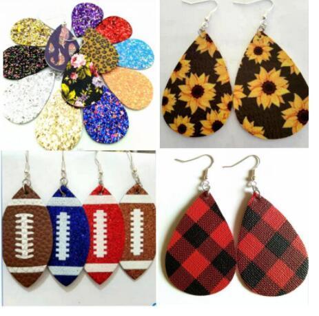Weihnachtsgeschenk Kendra Art PU-Leder Glitzer prickelnde ovale Ohrringe Mode Ohrringe für Frauen