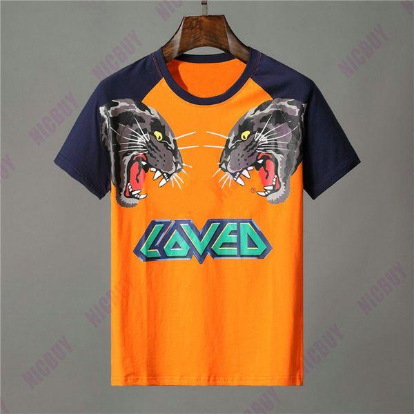 Diseñador de ropa de marca hombres camiseta naranja letra animal estampado de lobo camiseta amada patchwork manga camiseta Casual mujer camiseta de algodón camiseta Top