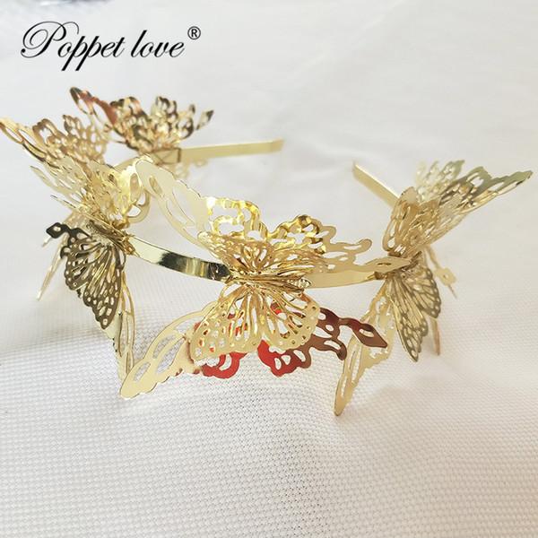 Big borboleta acessórios para o cabelo 2018 novas mulheres de ouro grande borboleta headband hairband moda jóias de metal ouro cabelo j190701
