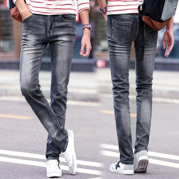 El diseñador de moda del diseñador del Mens Jeans Nueva vendimia del estilo recto Negro Gris lavado a la piedra Denim Jeans nueva llegada