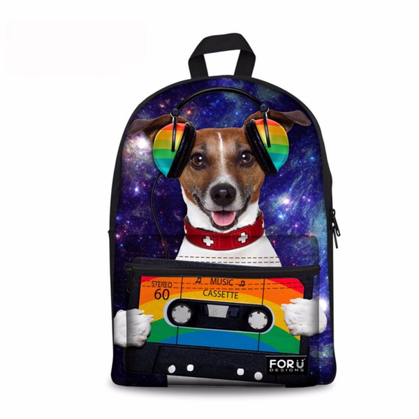Noisydesigns Music dog 3D Printing Shoulder Backpack for Teen students kid gifts bag Customize image Children Schoolbag