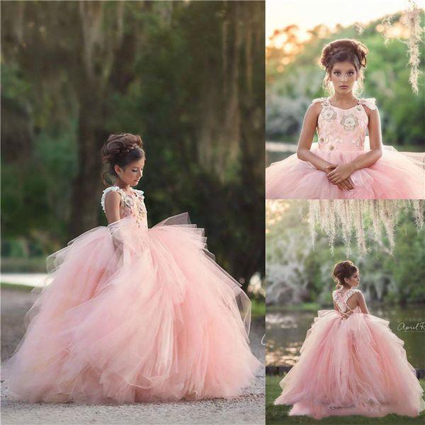 Princesse Rose Filles Pageant Robes 2020 Robe De Bal Appliques Longues Enfants Robe De Fille De Fleur Pour Mariage Robes Formelles Anniversaire Prom BC2113
