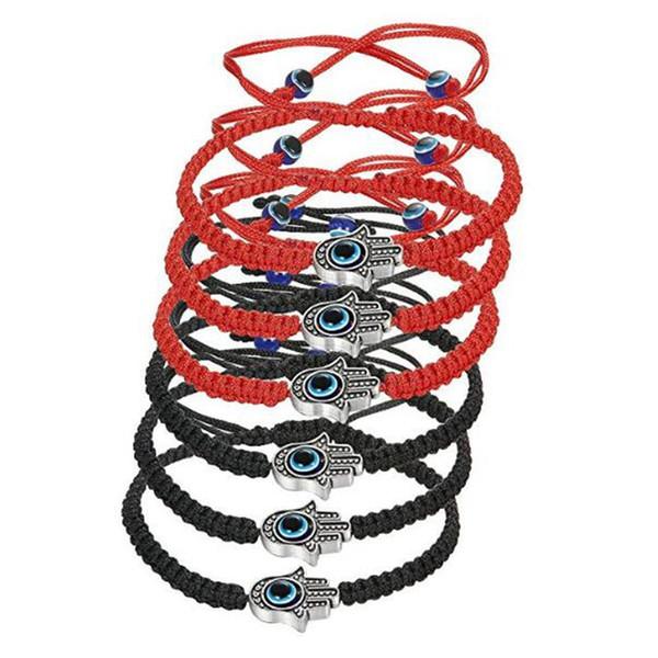 6pcs Braided String Kabbalah Bracelets Rotating Evil Eye Hamsa Hand for Protection Bracelet Red/Black String C-021