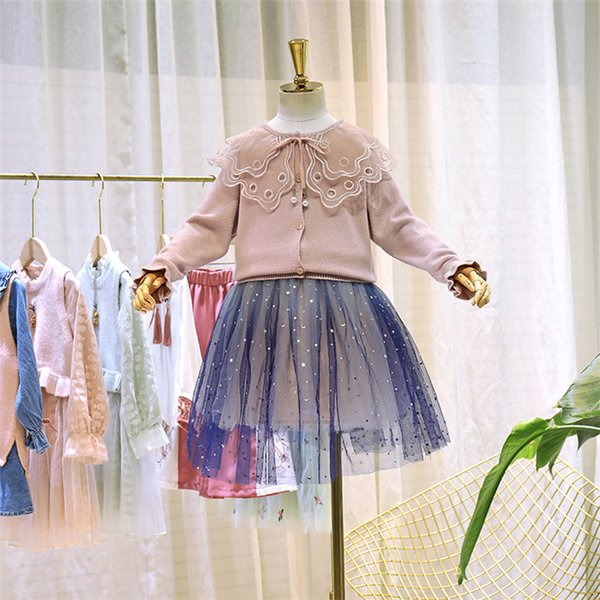 Girls princess outfits kids lace hole embroidery double falbala lapel sweater cardigan+sequins stars moon lace tulle skirt 2pcs sets F9521