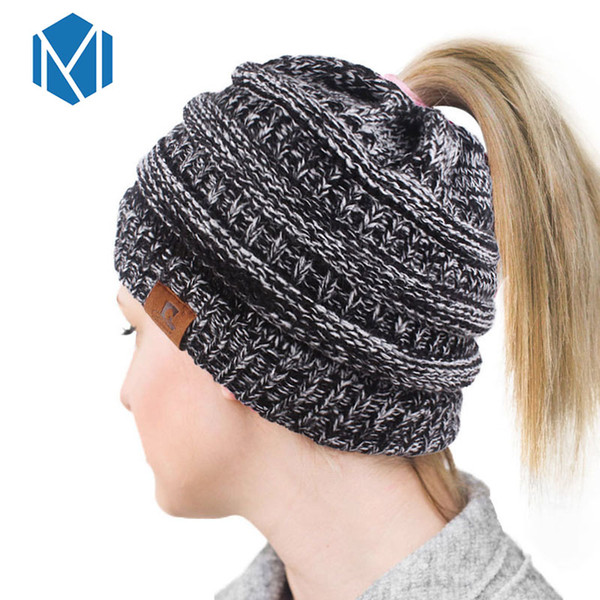 8883eb748c84e4 Women Warm Woolen Beanies Hip Hop Cap Winter Ponytail Hat Streetwear Bonnet  Femme Knitted Czapka Casual