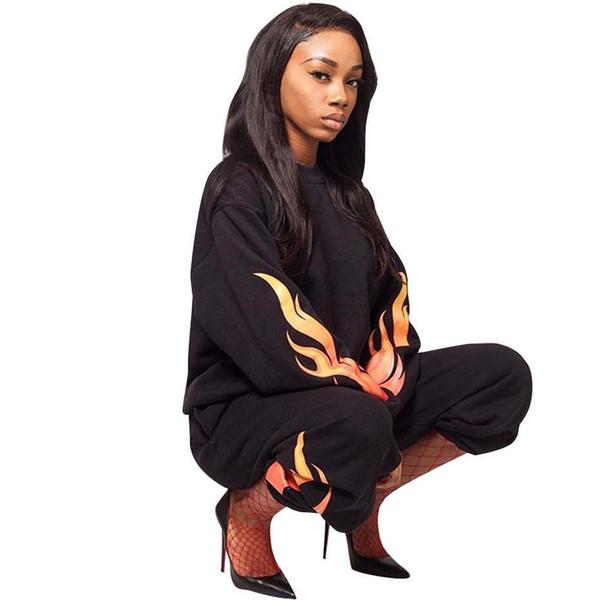 Set de 2 unidades Mujeres llamas de fuego largas de impresión camiseta de manga Tops + pantalones de chándal juego del ocio de dos piezas mujer casaul chándal grande hembra