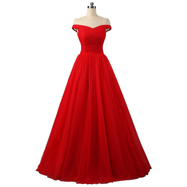 Sexy Long Off Shoudler Bridesmaids Dresses 2019 Soft Tulle Lace-up Back Country Bridesmaid Dress Wedding Party Gowns