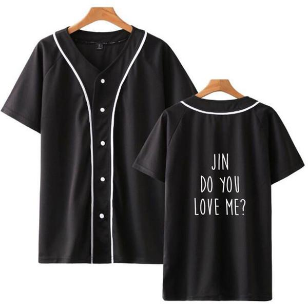 Você me ama Kpop Moda Manga Curta T-shirt De Beisebol Das Mulheres Dos Homens 2018 Venda Quente de Verão Casuais Fãs de Beisebol Impresso T-shirt