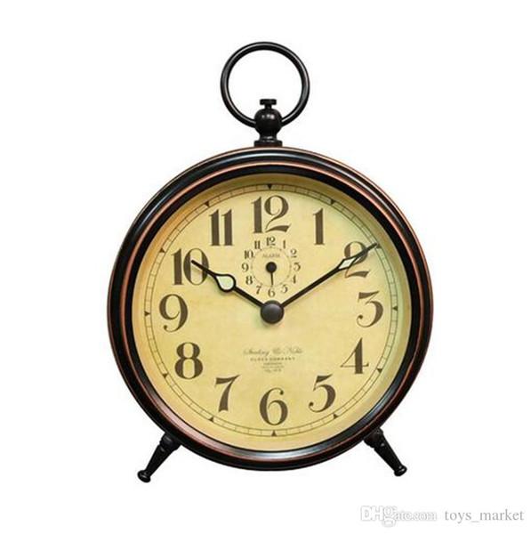 Lazy Retro Metal Mechanical Clockwork Small Alarm Clock Silent Small Table clock portable No batteries 10Pcs