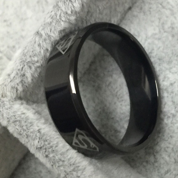 USpecial Black superman S logo alliance of tungsten carbide ring wide 8mm 7g for men women high quality USA 7-14