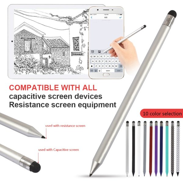 2 In 1 Multifunction Fine Point Round Thin Tip Touch Screen Pen pencil pattern Capacitive Stylus Pen For Smart Phone Tablet PC