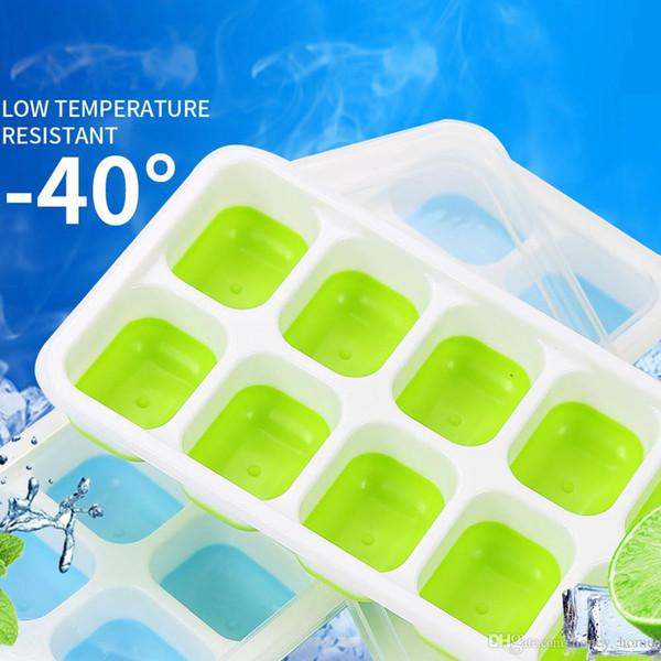 Home Fashion Vassoi per cubetti di ghiaccio 1 pezzo coperto Vassoio per cubetti di ghiaccio con 14 stampi per cubetti di ghiaccio Stampi in plastica fresca in gomma flessibile