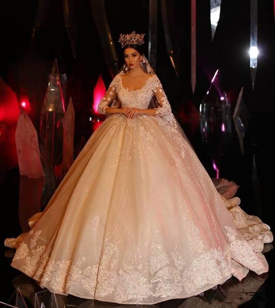 abito in pizzo Applique Abiti da sposa Palla lunga manica arabo di lusso 2020 abiti da sposa abiti scintillante Dubai abito da principessa sposa