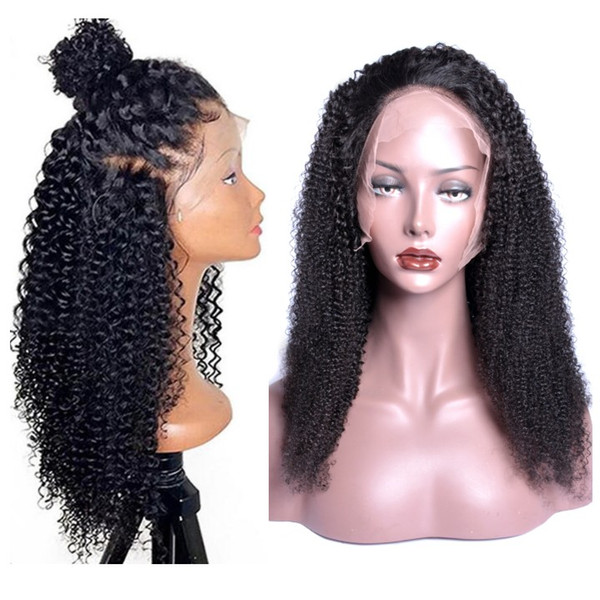 best selling Modern Show Remy 150% Density Kinky Curly Human Hair Wigs Pre Plucked Hairline Brazilian Virgin Hair Wigs With Baby Hair
