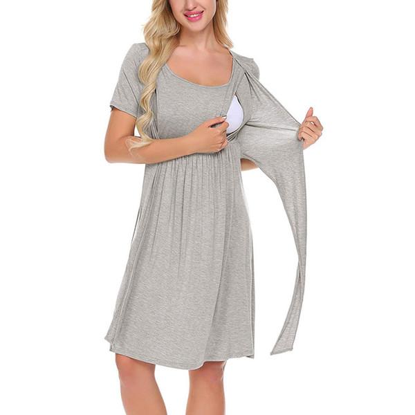 2 farbe vetement femme Frauen Mutterschaft Schwangere kleider Pflege Baby Nachthemd Einfarbig Stillen Nachtwäsche Kleid ropa de muje D