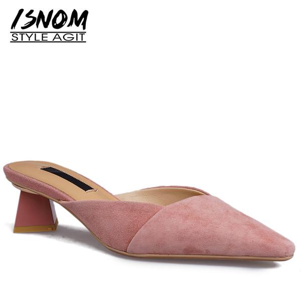 ISNOM Incomum Calcanhar Alto Chinelos Mulher Apontou Toe Calçado Criança Camurça Desliza Sapatos Femininos Mulas Sapatos Mulheres Verão 2019 Novo