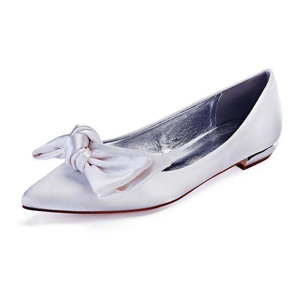 Conforto Plana De Cetim Mulheres Sapatos Casuais Bowknot Dedo Apontado Toe Deslizamento em Prom Evening Brdial Wedding Party Flats vestido