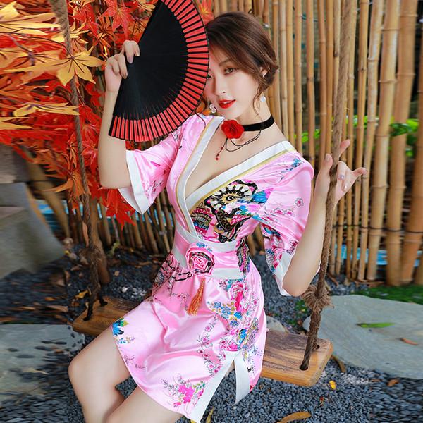 Les femmes sexy satin des robes jupe impression uniformes V fleur col kimono décontracté dames courtes en soie simili beaux vêtements de robe Party Club chemise de nuit