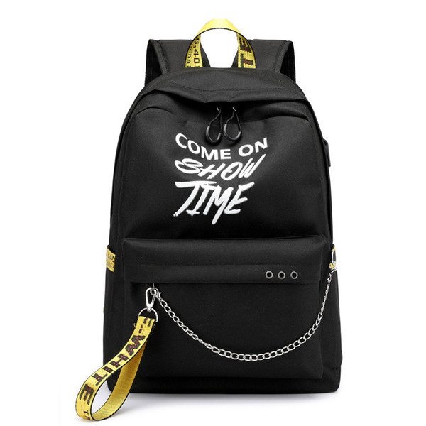 best selling USB Hip Hop Ladies Backpack Off Fashion White Women Bags High Quality Large Capacity Student Bag Casual Travel Backpacks