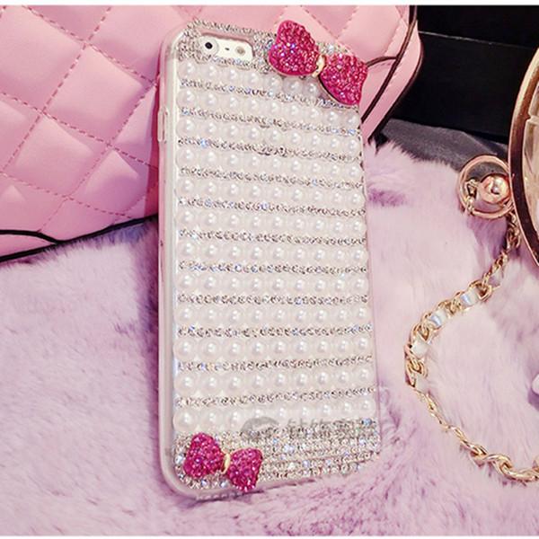 Cubierta de lujo del teléfono de la perla de la mariposa del Rhinestone para el iphone x xr iphone 5 6 7 8plus TPU + PC cubierta completa del diamante