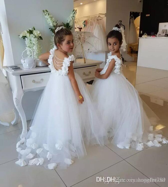 Lovely White Flower Girls Dresses For Weddings Scoop Ruffles Lace Tulle Pearls Backless Princess Children Wedding Birthday Party Dresses4645