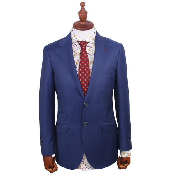 Men's Wardrobe Essentials Slim Fit Striped Suit Tailor Made Navy Blue Check Suits For Men Elegant Business Suit