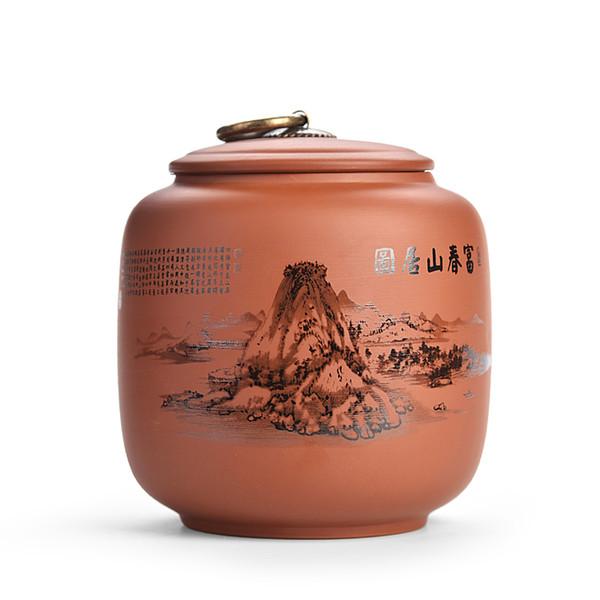 Chinese YIXING Purple Clay Tea Box Medium Tea Coffee Storage Jars Kitchen Ceramic Storage Box Seasoning Storage Containers Jars