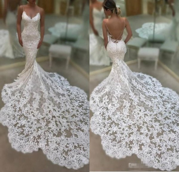 Spring Summer 2019 Full Lace Wedding Dresses Long Train Backless Mermaid Wedding Gowns Spaghetti Straps Sexy Boho Bridal Party Gowns