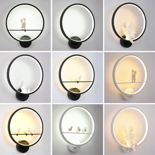 Art Moderne Ange Nordic LED Lampe Murale Nordic Créatif Salon Chambre Luminaires De La Maison Décoration Murale Lumière