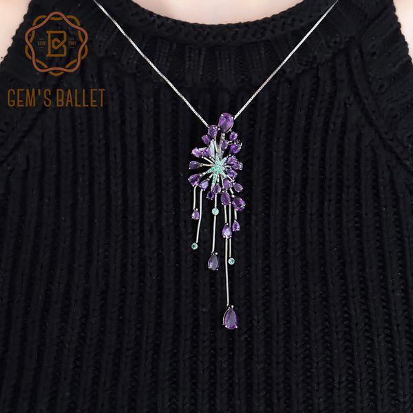 Gioielli gemma del balletto di New 8.88Ct naturale Amethyst viola della pietra preziosa Pendenti nastro dai 925 Sterling gotico del partito delle donne per la collana